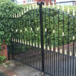 spear head arched double driveway painted gates
